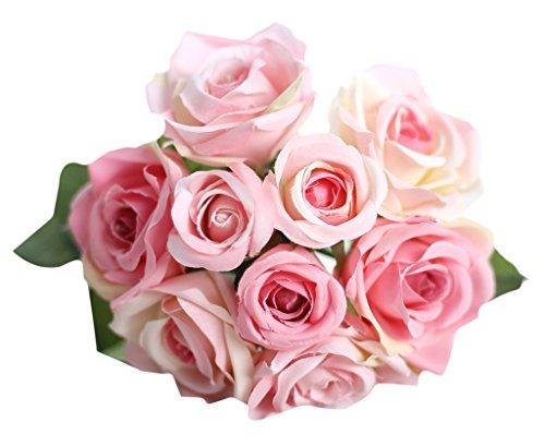 MARRYME Künstliche Seidenblumen Rosen Bouquet Kunstblumen Hochzeit Dekor Braut Strauß Rosa Rosa Strauß