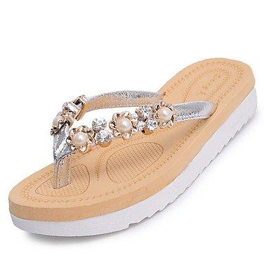 zhENfu donna pantofole & amp; flip-flops Comfort estivo PU Casual tacco piatto Perla nera argento a piedi Silver