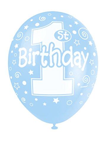 Unique Party Supplies 5 x Luftballons mit Perlglanzeffekt aus Latex, 30cm, für den ersten Geburtstag