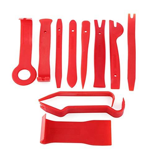 11pcs / set strumento di leva in plastica trim cruscotto porta clip pannello rimozione installatore apertura strumento di riparazione per pc phone smontaggio set-rosso