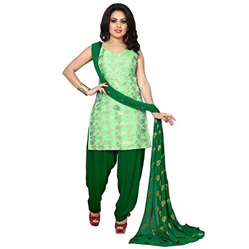 C&H Women's Banarasi Silk Jacqaurd Patiala Suits Salwar Suit Set (St-7003_Green_Free Size)