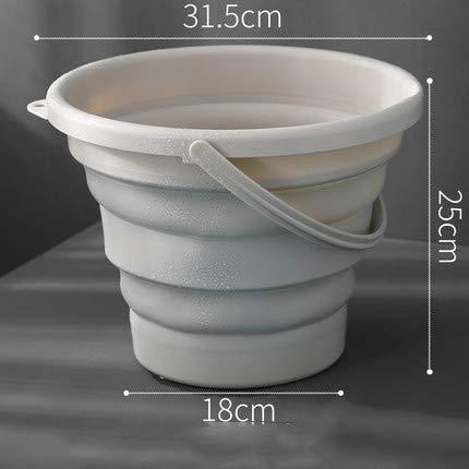 SSDHY Eimer Falteimer Kunststoff Haushalt Autowaschanlage Angelgerät Tragbare Badewanne Kunstspeicher Wasser LKW Anhänger Küche Eimer, Khaki, 7L -