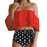 Damen Bikini Set Push Up Rüschen Badeanzug Zweiteilige High Waist Ruffles Bademode Hohe Taille Bikinihose und Bikini Oberteil High Waist Push Up Badeanzüge Crop Top Strandkleidung mit Langem Volant