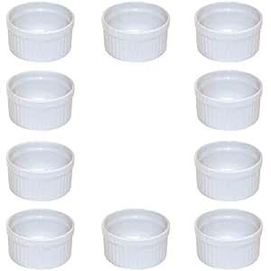 Viva Haushaltswaren Lot de 10 moules en céramique diamètre 9cm blanc