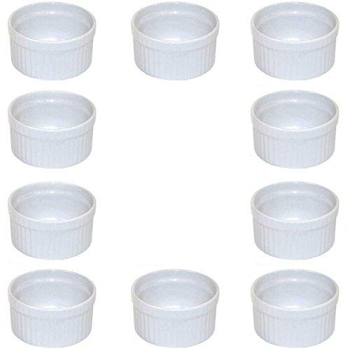 10 x weiße Auflaufform aus Keramik, kleine Kuchenform für Creme Brulee und als Dip- und Snackschale verwendbar (Ø 9 cm, B-Ware)