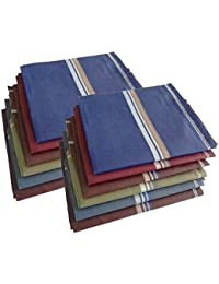 S4S Men's 100% Cotton Premium Collection Handkerchiefs - Pack of 12 (Dark Color Assorted_46X46 CM)