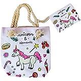 Goods4good Bolso Playa Piscina Unicornio Pequeño Infantil para Niña/Chica con Regalo Neceser/Monedero Color Rosa Asas Cremall