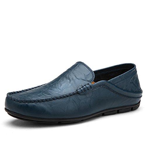 Lily999 mocassini in pelle uomo casual eleganti slip on penny loafers scarpe da guida barca nero blu marrone 38-46(blu scuro,45 eu)
