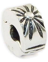 Andante-Stones - 925 cuenta de plata, con cierre a presión, elemento separador, con 2 flores, elemento bola para cuentas European Beads + saco de organza