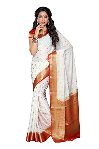 Mimosa Women's Traditional Crepe Silk Saree Kanjivaram Style With Blouse Color:Off White(3312-2087-HWT-RED )  available at amazon for Rs.1699