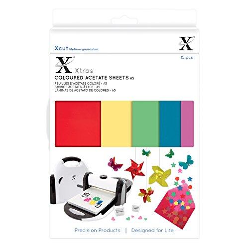 Xcut Xtra's Coloured Acetate Sheets, Multi-Colour, A5, 15-Piece Test