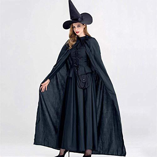 80 Prom Nacht Kostüm - PIN Olydmsky Halloween Kostüme Frauen Halloween Hexenkostüm Erwachsene Schwarze Horrorhexe Maskerade Prom Theme Party Kostüm,* L