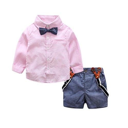 Ropa bebe, Culater Conjuntos de Trajes Niño 0~24 meses Camisas + Pantalones (12~18 M, Rosa)
