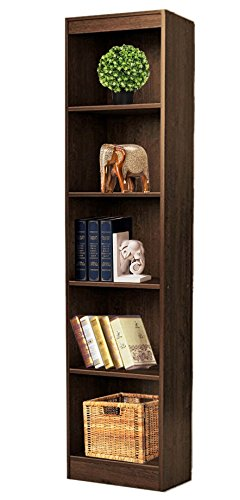 Bluewud Alex Wall Book Shelf / Home Decor Display & Storage Rack Cabinet Unit (Wenge, 5 Shelves, 66