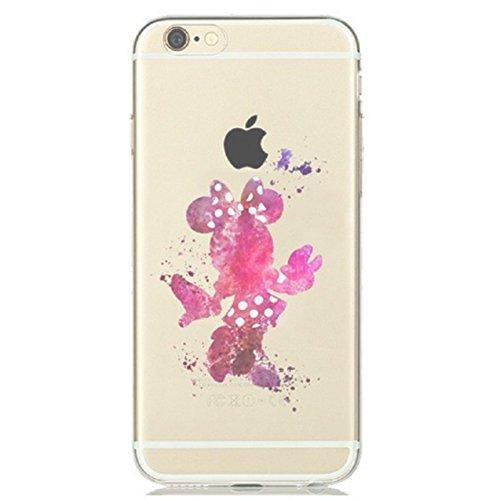 iPhone 6S Plus Fall, thephonecaseco klare Premium iPhone 6+ Fall TPU [Kratzfest Cover Cases Apple iPhone 66S Plus + Minnie Maus Colorful Farbklecks (Walt Disney Fall Phone I 6)