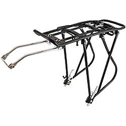 PrimeMatik - Portaequipajes metálico Trasero de Bicicleta con Palanca y Doble Fijación 40x13 cm