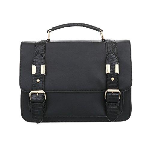 iTal-dEsiGn Damentasche Mittelgroße Schultertasche Used Optik Handtasche Kunstleder TA-A151 Schwarz