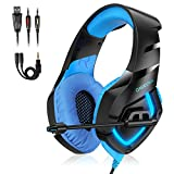Casque Gaming PS4 K1B - Casque Gamer avec LED et Microphone Amovible Réducteur de Bruit Compatible PS4/PC/XBOX ONE/Smartphone/Mac/Nintendo Switch Cable 2.2m