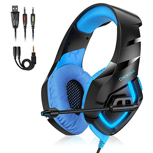 K1B Gaming Headset con LED Light Gaming Headset con micrófono Rotable de 3,5 mm con cable USB Pabellones extraíbles Compatible con PC / PS4 / Xbox One / Smartphone / Nintendo Switch Cable 2.2metri (azul)
