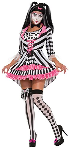9 Harlequin Clown Ring Mistress Kostüm (UK 10–12) (Scary Doll Halloween Fancy Dress)