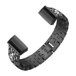 ⌚Bling Edelstahl-Metallarmband-Armband für Fitbit Charge 3 Smart Watch,Straps Silikon Uhrenarmband mit Schnellverschluss