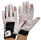 BluePort Erwachsene (Unisex) Segelhandschuhe aus Leder-2 Finger frei M, blau-weiß M