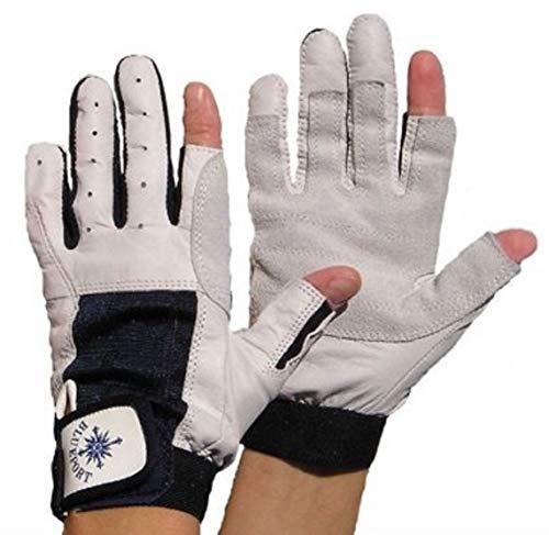 BluePort Erwachsene (Unisex) Segelhandschuhe aus Leder-2 Finger frei M, blau-weiß, M
