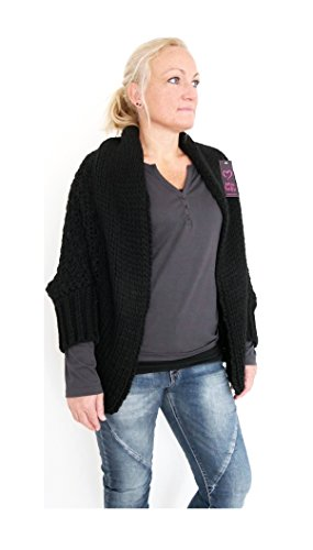 Damen Oversize Cut Strickjacke Fledermaus Cardigan Weste Einheitsgröße 38 - 44 (2177) (Schwarz) (Strickjacke Fly Away)