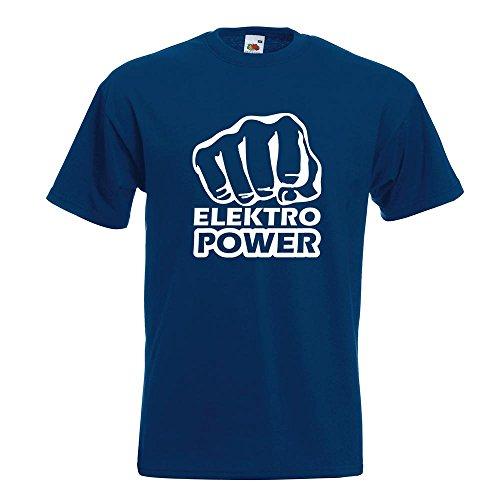 KIWISTAR - Elektro Power Faust Schlag T-Shirt in 15 verschiedenen Farben - Herren Funshirt bedruckt Design Sprüche Spruch Motive Oberteil Baumwolle Print Größe S M L XL XXL Navy