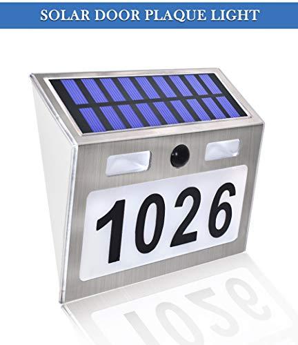 ABONGONE Solarhausnummer-Plaketten-Licht mit Bewegungs-Sensor führte Licht-Adressen-Zahl für Hausgarten-Tür-Solarlampen-Beleuchtung
