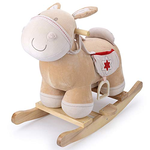 ZhaoXH-Caballo Mecedora Bebé del Caballo Mecedora de Madera, Felpa Mecedora Caballo de Juguete, Presidente...