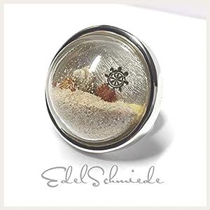 """""""OstseeLiebe"""" Silberring 925/- mit Strandgut/Glas #57"""