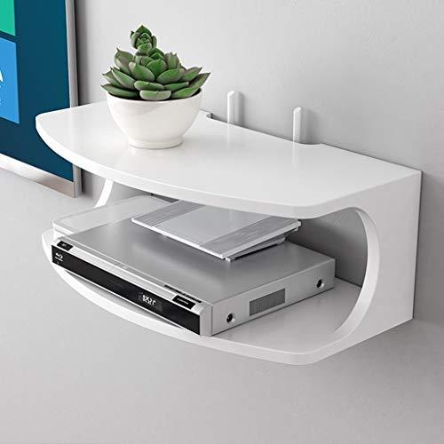 XU FENG An der Wand montiertes schwimmendes Regal Moderne Medienkonsole TV-Ständer Halterung/Halter/Ständer für WiFi-Router TV-Box Set-Top-Box Lautsprecher Streaming-Gerät Spielkonsole (Farbe : Weiß) (Moderne Router Wifi)