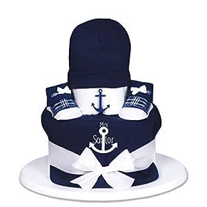 Trend Mama Baby-Geschenk WINDELTORTE Junge blau Mini Sailor blaues Lätzchen+ 1x Babysocken+ Babymütze|Grußkarte