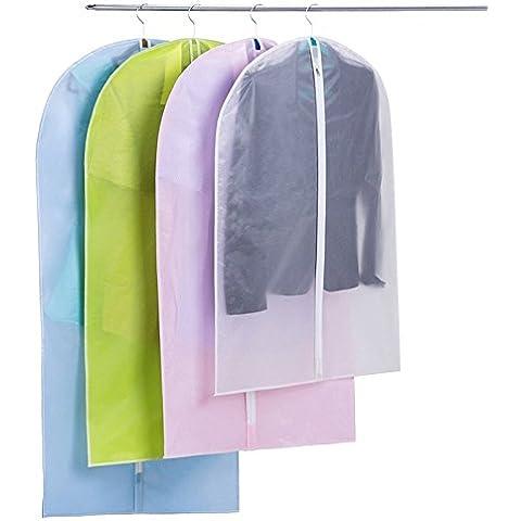 Highdas Facile Organizza panno borsa da viaggio trasparente zip del vestito borse cerniera indumento copriabiti, 60 * 90 cm (23.6 * 36.4 pollici), Bianco, Confezione da 20