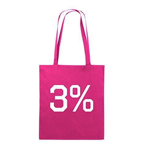 Buste Comiche - 3% - Logo - Borsa In Juta - Manico Lungo - 38x42cm - Colore: Nero / Rosa Rosa / Bianco