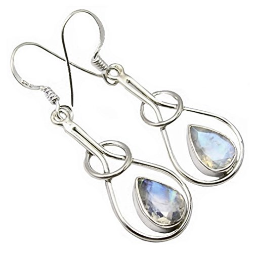 Unique Exklusive Damen Ohrhänger Pendel echter Mondstein eingefasst in 925 Sterling Silber nickelfrei 3.4 Karat in Juweliers- Qualität