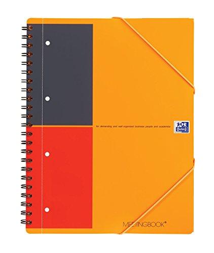 OXFORD 100104296 Meetingbook International A4 liniert 4fach gelocht  2 in 1 Collegeblock und Gummizugmappe orange Oxford 2 Tasche