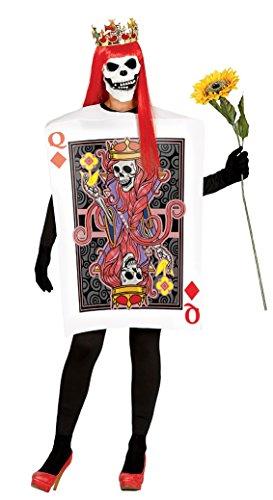 Kostüm Halloween Herzen Der Königin - Halloween Skelett Kostüm Königin der Herzen-Poker-Karte