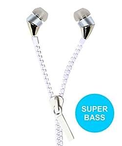 Jkobi New Designed Zipper Style Handsfree Earphones Compatible For Reliance Jio LYF Water 7 -White