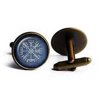 Viking Runes Vegvisir Viking Compass Wikinger Runen Kompass Antike Bronze Manschettenknöpfe