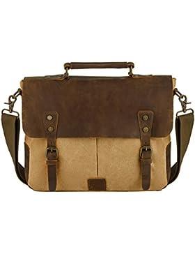 Vintage Schultaschen, P.KU.VDSL Canvas Umhängetasche Schulter Messenger Bag Laptoptasche Notebooktasche Aktentasche...