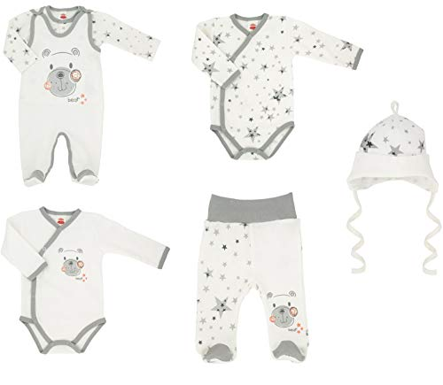 Makoma Baby Erstausstattung Set Unisex 6tlg. Strampler Set mit Langarmshirt Body Hose & Mütze -Teddy- (62) - Unisex Set