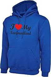I Love Heart My foundland Dog Royal Blue Hoody Hooded Sweatshirt With Black Text & Red Heart