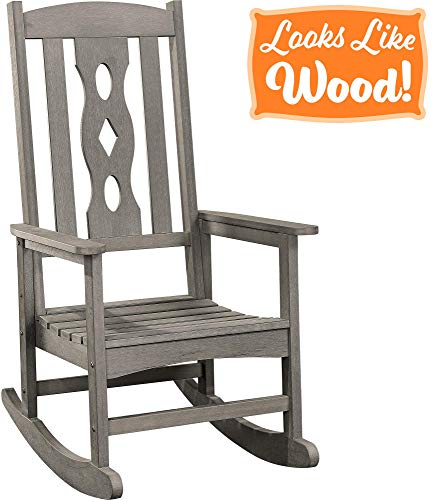 PolyTEAK Schaukelstuhl, gebogen - Sieht aus wie Holz - wetterfestes Material - Poly-Harz Schaukelstuhl - Veranda und Terrasse, fühlt Sich an wie Teak grau -