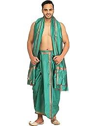 Exotic India Dhoti And Angavastram Set With Golden Woven Paisley On Border