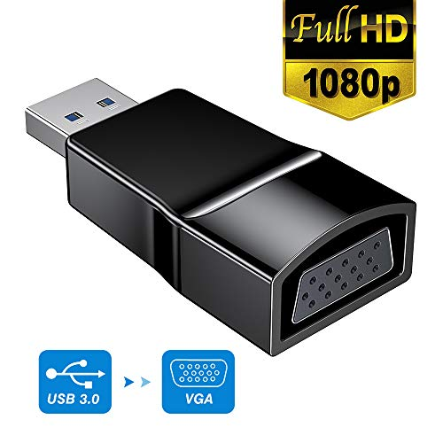 USB 3.0 zu VGA Adapter, USB zu VGA Video Adapter Konverter, Externe Videokarte, Multi-Monitor Display, Display externes Kabel Adapter für PC Laptop Windows 7/8/8.1/10 USB VGA -