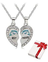 9cdbf7d8ae95 2 piezas Señoras Cadena colgante de plata con diamantes de imitación para  la pareja
