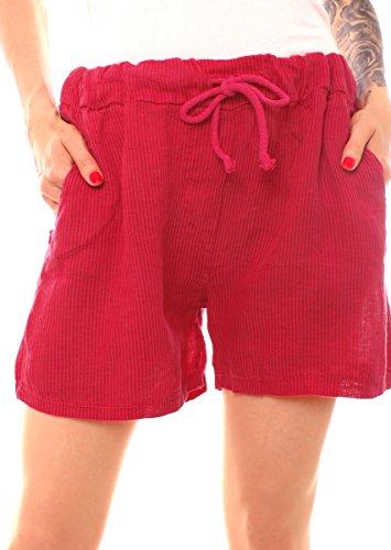 Fragolamoda Damen Leinen Shorts kurze Hose gestreift One Size Himbeer