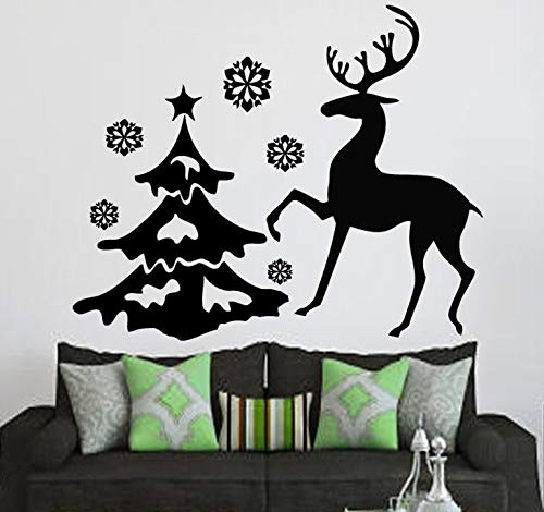 Neueste Weihnachten Rentier Mit Baum Frohe Weihnachten Wandaufkleber Home Wohnzimmer Kunst Festival Dekorative Wandbild Decals 51 cm x 64 cm -